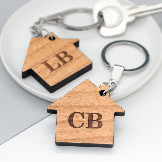Personalised House Initial Key Rings, Set Of Two