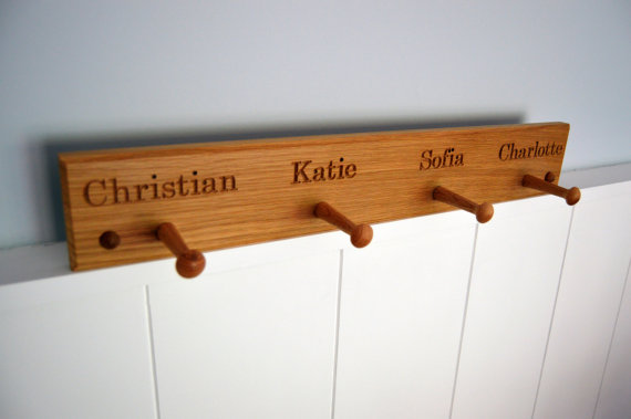 Personalised Oak Peg Rail