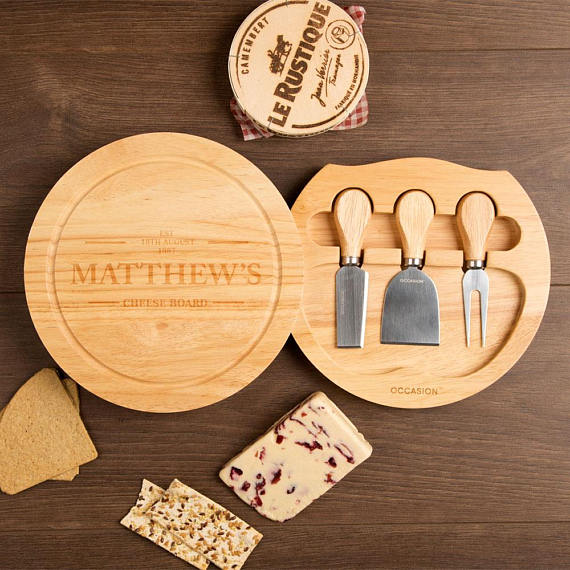 "Personalised ""Established on…"" Circular Cheese Board Gift Set"
