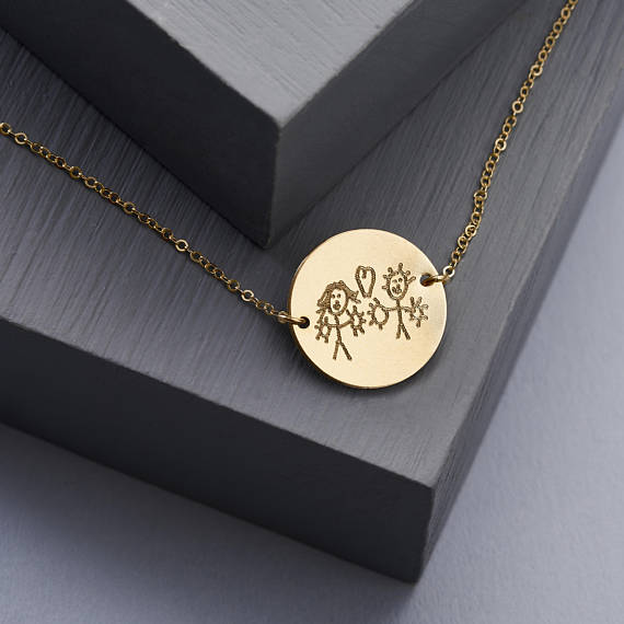 Actual Handwriting Disc Necklace