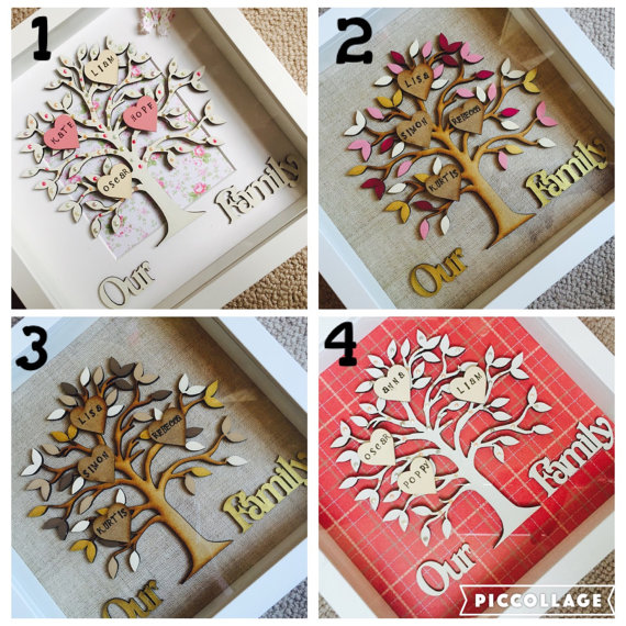 Wooden Family Tree In Box Frame