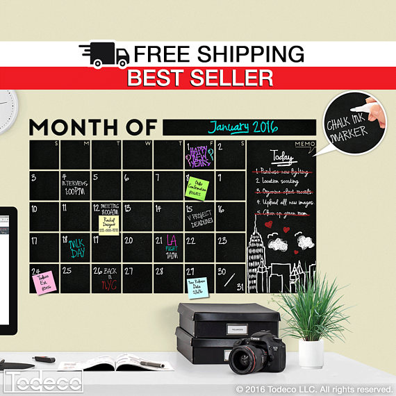 HUGE! Modern Monthly Chalkboard with Memo Wall Calendar, Blackboard