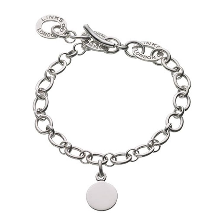 Sterling Silver Baby Disc Charm Bracelet